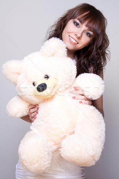 Mooi meisje teddybeer grijs vrouw portret aanwezig Stockfoto © Lupen