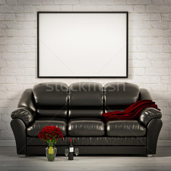 Wonen witte kamer leder sofa 3d illustration Stockfoto © Lupen