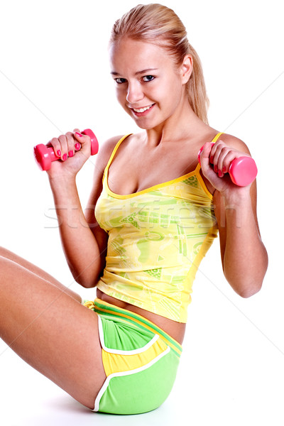 pink dumbbells in the hands of women Stock photo © Lupen
