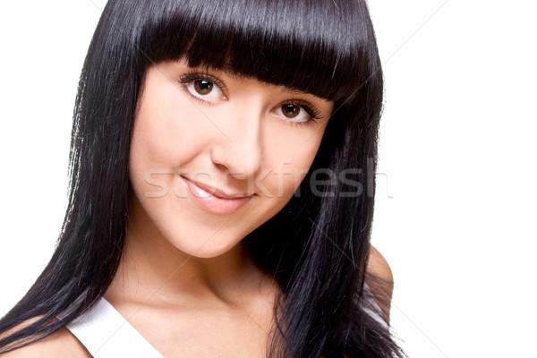 красивая женщина лице белый изолированный женщину улыбка Сток-фото © Lupen