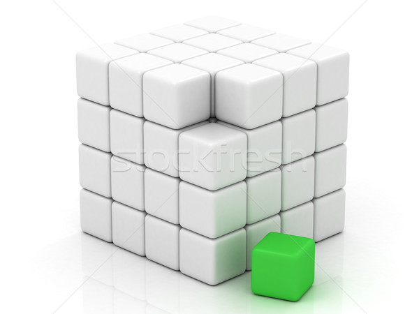 cube white assembling from blocks Stock photo © Lupen