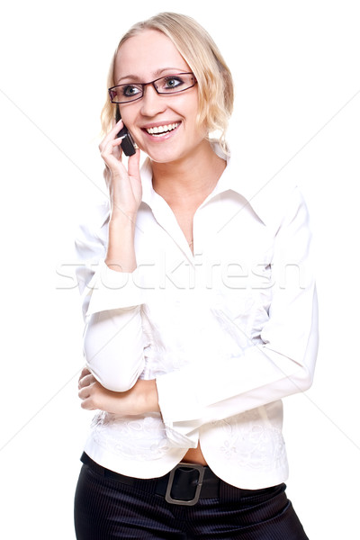 деловой женщины очки телефон белый бизнеса служба Сток-фото © Lupen