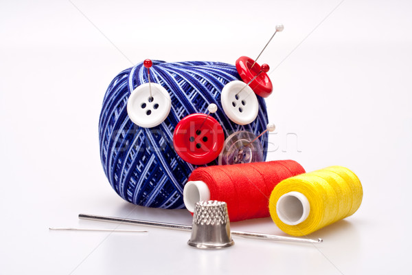 Wol bal knoppen Rood witte werk Stockfoto © Lupen