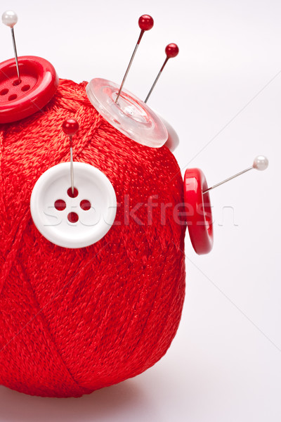 Wol bal knoppen Rood witte ontwerp Stockfoto © Lupen