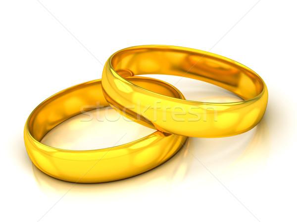 Gouden trouwringen witte liefde hart paar Stockfoto © Lupen