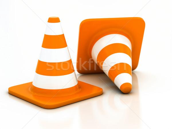 オレンジ 道路 トラフィック コーン 白 通り ストックフォト © Lupen