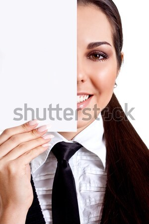 young business woman with business card Stock photo © Lupen
