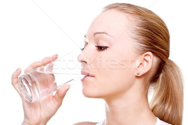 Mooie vrouw drinkwater witte vrouw drinken vrouwelijke Stockfoto © Lupen
