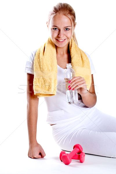 женщину бутылку воды белый здоровья Сток-фото © Lupen