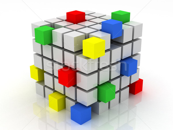 cube assembling from blocks Stock photo © Lupen