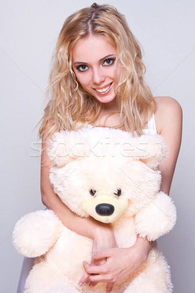 beautiful girl with a teddy bear Stock photo © Lupen