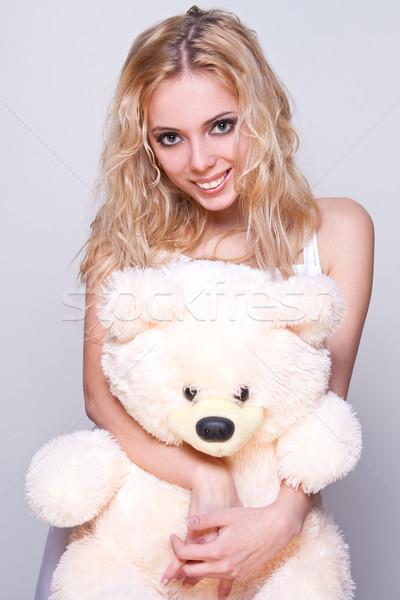 Schöne Mädchen Teddybär grau Frau Porträt tragen Stock foto © Lupen