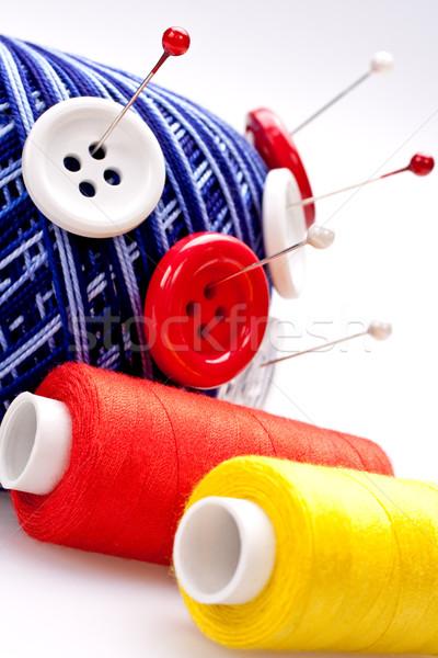 Stockfoto: Wol · bal · knoppen · Rood · witte · ontwerp