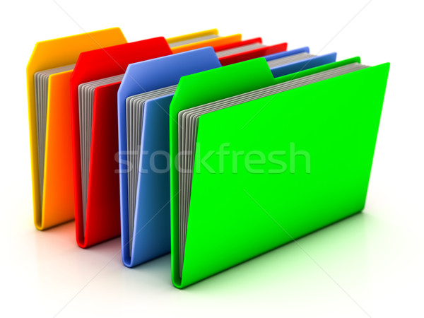 Mappen bestanden witte kantoor technologie groene Stockfoto © Lupen