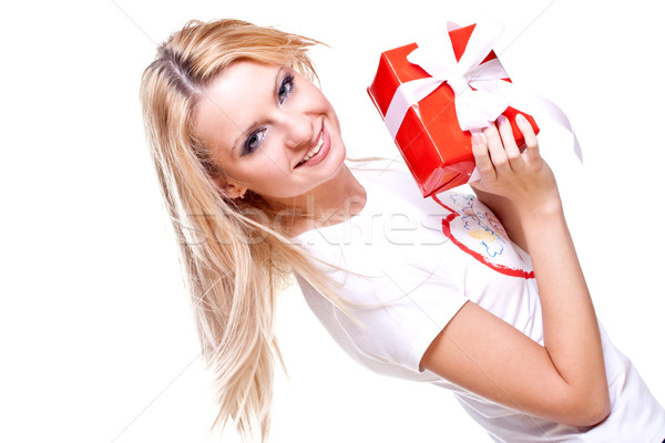 beautiful woman with holiday gift Stock photo © Lupen