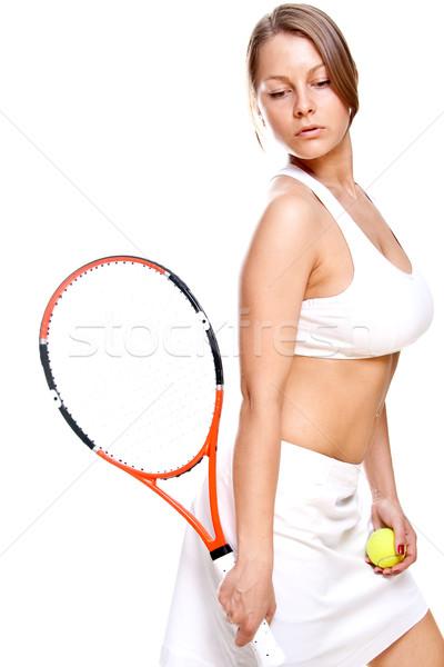 Gyönyörű lány teniszütő fehér nő sport haj Stock fotó © Lupen