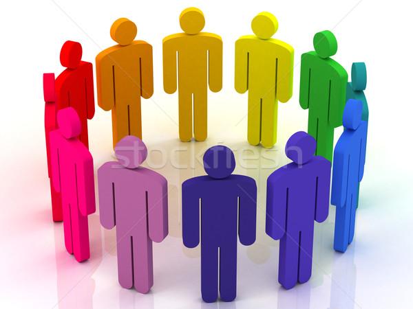 человека круга красочный группа людей Постоянный вокруг Сток-фото © Lupen