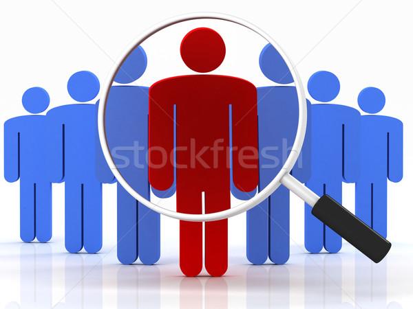 люди поиск группа людей Постоянный увеличительное стекло белый Сток-фото © Lupen