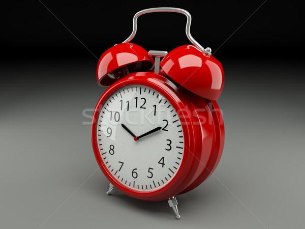 Analogique rétro réveil gris horloge rouge Photo stock © Lupen