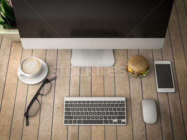 朝食 コンピュータ 3次元の図 電話 コーヒー ビジネス ストックフォト © Lupen