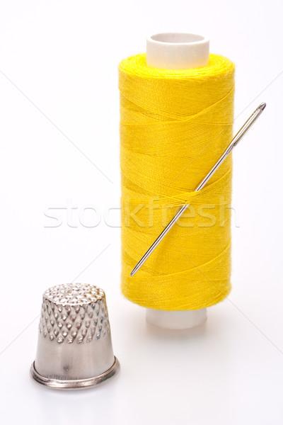 Carretel fio de costura agulha dedal trabalhar Foto stock © Lupen
