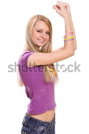 若い女性 笑みを浮かべて ポーズ 白 女性 楽しい ストックフォト © Lupen