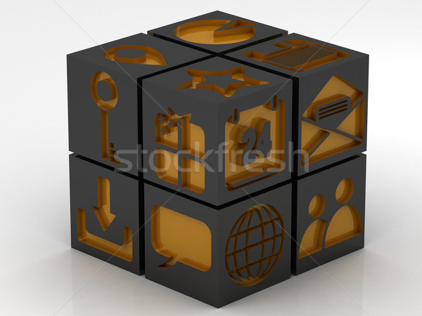 icons assembling from blocks Stock photo © Lupen