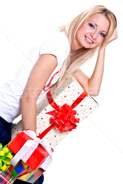 красивая женщина праздник подарок белый красоту окна Сток-фото © Lupen