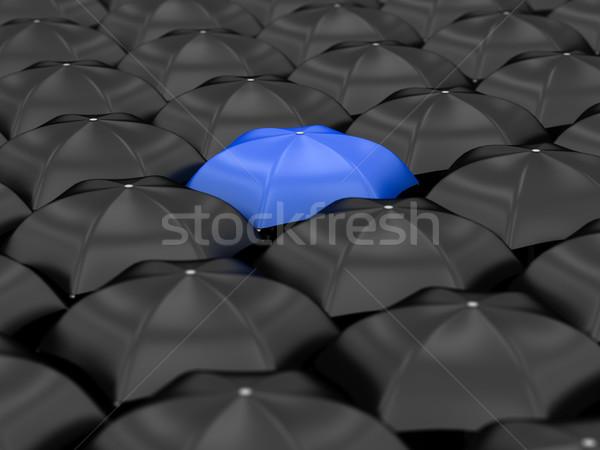 Uniek Blauw paraplu veel zwarte parasols Stockfoto © Lupen