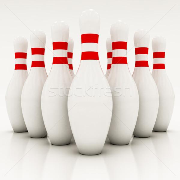 белый боулинг спорт красный играть игры Сток-фото © Lupen