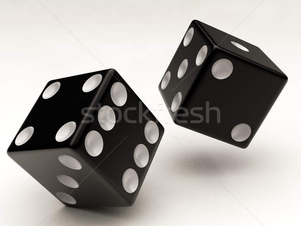 two black dices falling Stock photo © Lupen