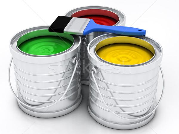 Drie kleur verf regenboog huis metaal Stockfoto © Lupen