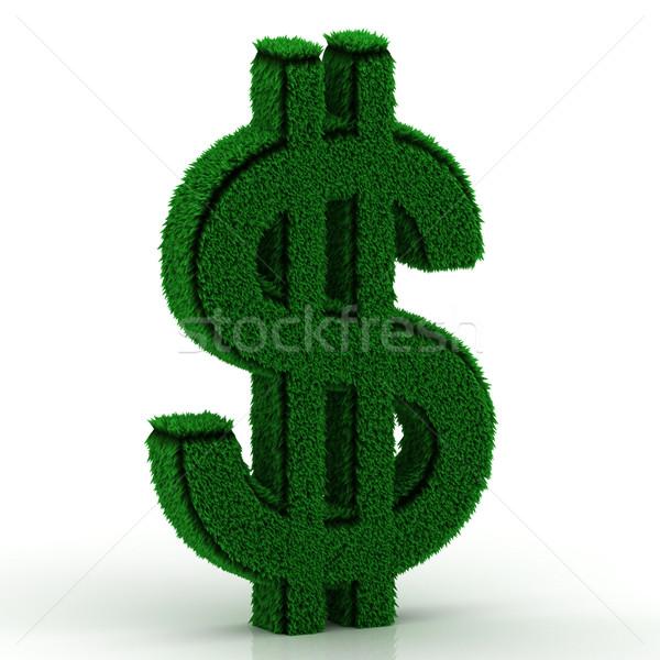 природного трава доллара символ белый знак Сток-фото © Lupen
