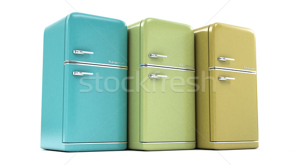 レトロな 冷蔵庫 白 技術 氷 ヴィンテージ ストックフォト © Lupen