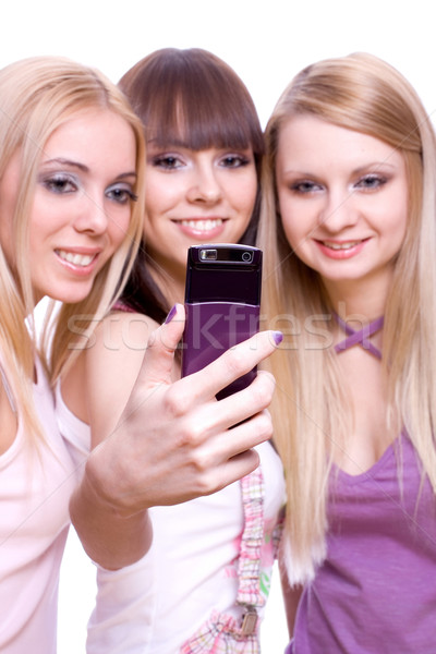 Drie meisjes telefoon witte vrouw vrouwen Stockfoto © Lupen