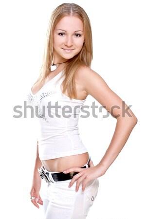 Piękna kobiet shirt biały nastolatek kobiet Zdjęcia stock © Lupen