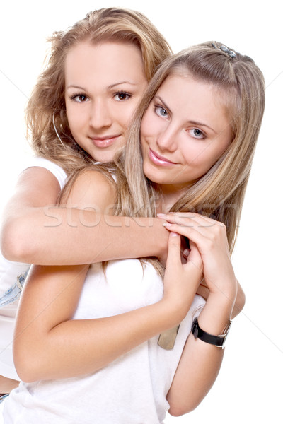two beautiful women in a white T-shirts Stock photo © Lupen