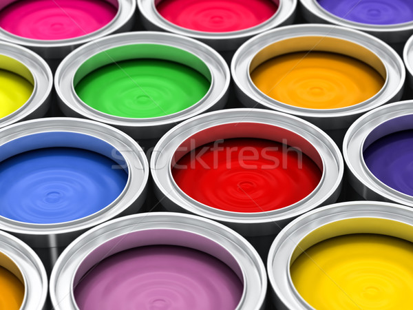 many color paint cans Stock photo © Lupen