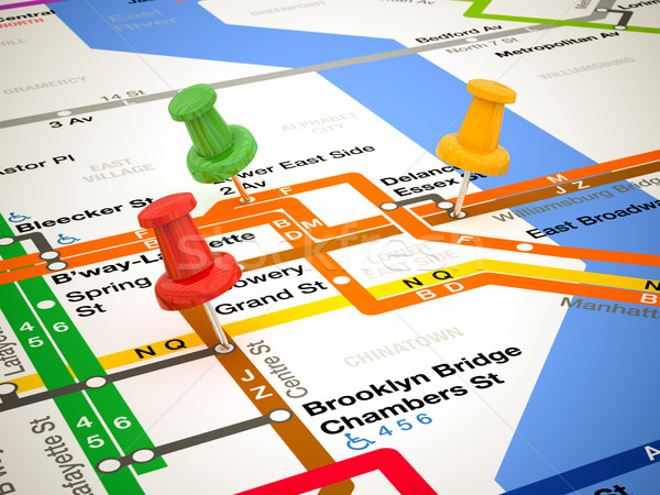 3d pins and subway map Stock photo © Lupen
