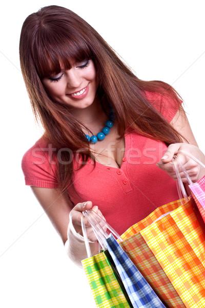 красивой торговых белый женщину женщины Сток-фото © Lupen