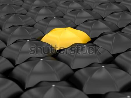 黄色 傘 多くの 黒 傘 ストックフォト © Lupen