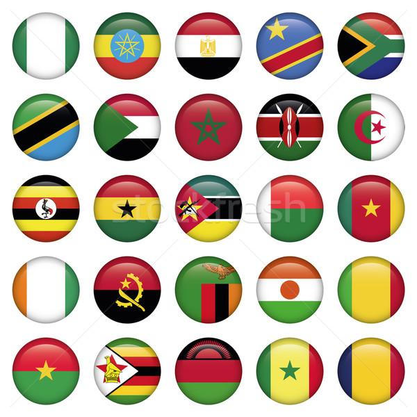 Afrikai zászlók ikonok jpg illustrator eps10 Stock fotó © Luppload