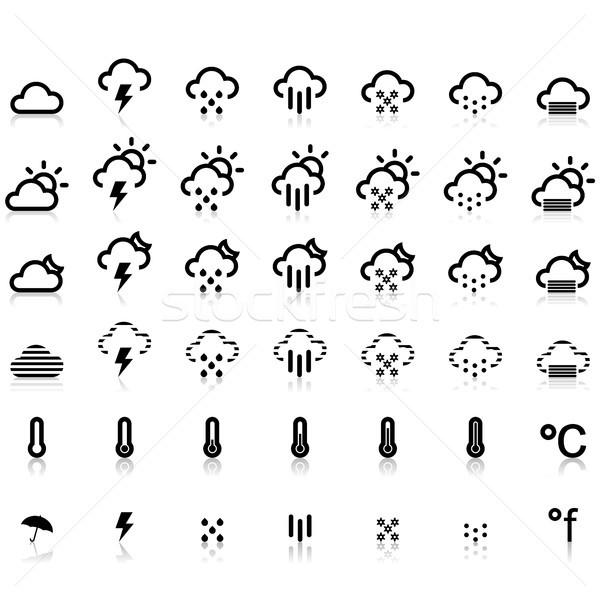 погода иконки белый jpg иллюстратор eps10 Сток-фото © Luppload