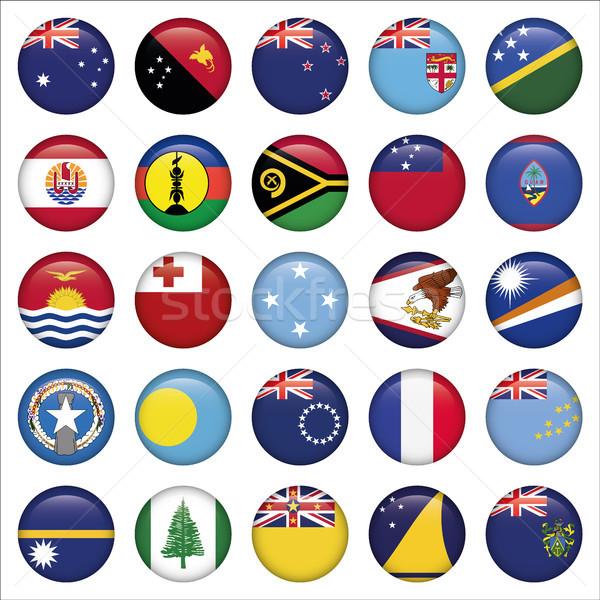 セット オーストラリア人 オセアニア フラグ アイコン ストックフォト © Luppload