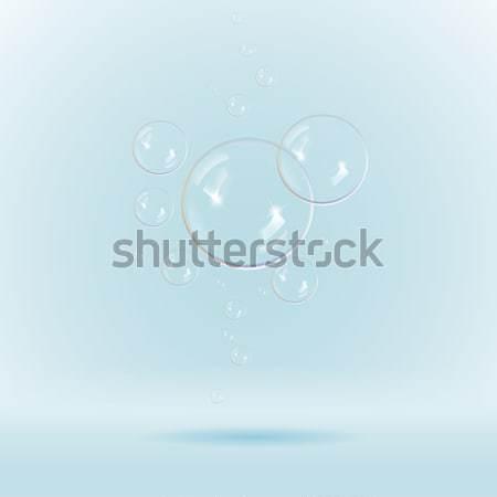 синий мыльные пузыри белый иллюстрация вектора прозрачность Сток-фото © Luppload