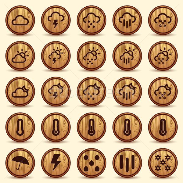 Fa időjárás ikonok barna magas döntés Stock fotó © Luppload