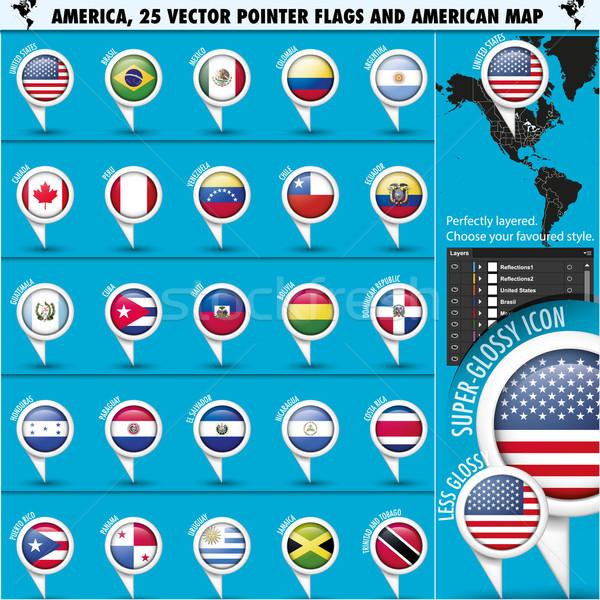 アメリカ フラグ アイコン アメリカン 地図 米国 ストックフォト © Luppload