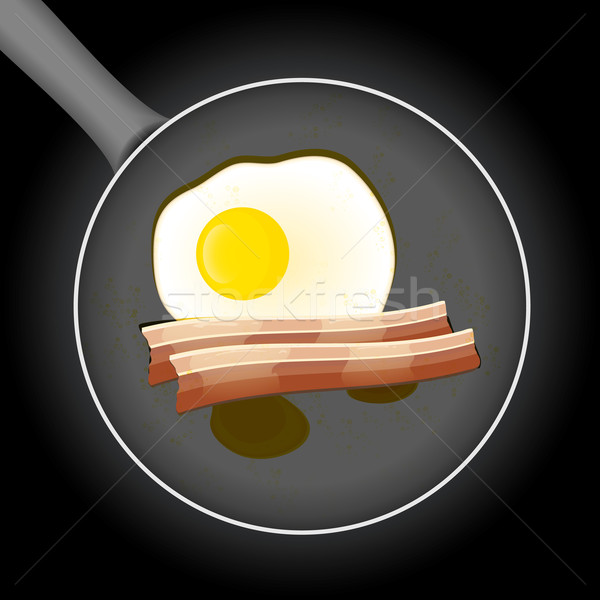 Fried egg and beacon in a frying pan with oil Stock photo © Luppload