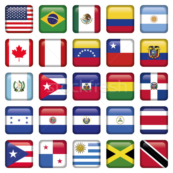 American Flags squared Icons Stock photo © Luppload