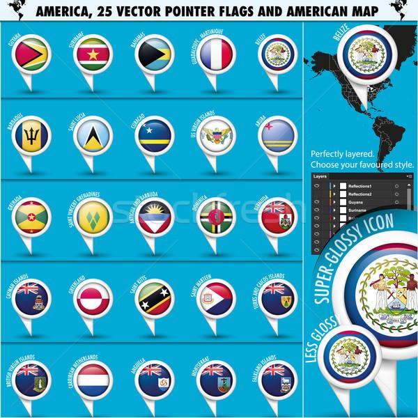 Amerika vlag iconen amerikaanse kaart eps10 Stockfoto © Luppload